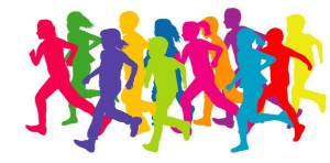 Colored silhouettes of running children